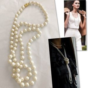 VINTAGE UNSIGNED FAUX PEARL SINGLE STRAND NECKLACE